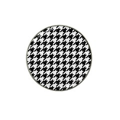 Houndstooth1 Black Marble & White Linen Hat Clip Ball Marker (10 Pack) by trendistuff