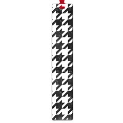 Houndstooth1 Black Marble & White Linen Large Book Marks by trendistuff