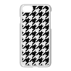 Houndstooth1 Black Marble & White Linen Apple Iphone 8 Seamless Case (white)