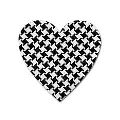 Houndstooth2 Black Marble & White Linen Heart Magnet by trendistuff