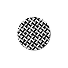 Houndstooth2 Black Marble & White Linen Golf Ball Marker (4 Pack) by trendistuff