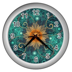 Beautiful Tangerine Orange And Teal Lotus Fractals Wall Clocks (silver)  by beautifulfractals
