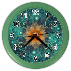 Beautiful Tangerine Orange And Teal Lotus Fractals Color Wall Clocks by beautifulfractals