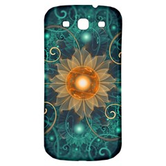 Beautiful Tangerine Orange And Teal Lotus Fractals Samsung Galaxy S3 S Iii Classic Hardshell Back Case by jayaprime