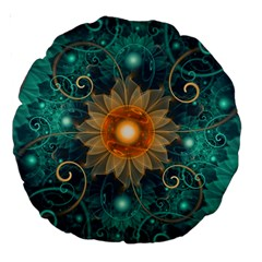 Beautiful Tangerine Orange And Teal Lotus Fractals Large 18  Premium Round Cushions by beautifulfractals