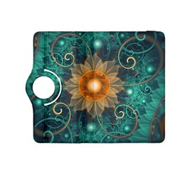 Beautiful Tangerine Orange And Teal Lotus Fractals Kindle Fire Hdx 8 9  Flip 360 Case by beautifulfractals