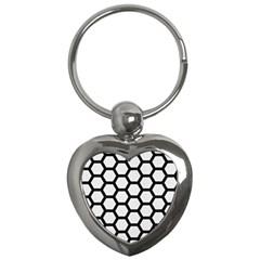 Hexagon2 Black Marble & White Linen Key Chains (heart)