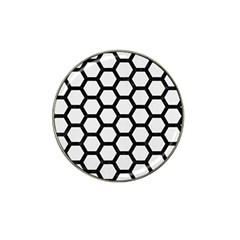 Hexagon2 Black Marble & White Linen Hat Clip Ball Marker by trendistuff