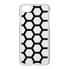 Hexagon2 Black Marble & White Linen Apple Iphone 8 Seamless Case (white)