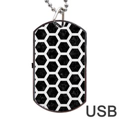 Hexagon2 Black Marble & White Linen (r) Dog Tag Usb Flash (one Side) by trendistuff