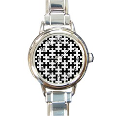 Puzzle1 Black Marble & White Linen Round Italian Charm Watch by trendistuff