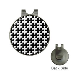 Puzzle1 Black Marble & White Linen Hat Clips With Golf Markers by trendistuff