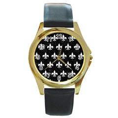 Royal1 Black Marble & White Linen Round Gold Metal Watch by trendistuff