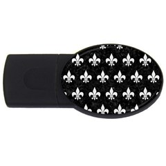 Royal1 Black Marble & White Linen Usb Flash Drive Oval (4 Gb) by trendistuff