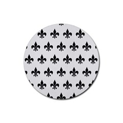 Royal1 Black Marble & White Linen (r) Rubber Round Coaster (4 Pack)  by trendistuff