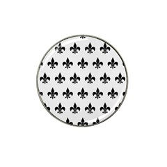 Royal1 Black Marble & White Linen (r) Hat Clip Ball Marker by trendistuff