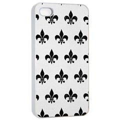 Royal1 Black Marble & White Linen (r) Apple Iphone 4/4s Seamless Case (white) by trendistuff