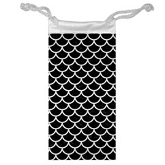 Scales1 Black Marble & White Linen (r) Jewelry Bag