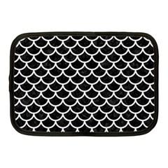 Scales1 Black Marble & White Linen (r) Netbook Case (medium)  by trendistuff