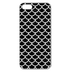 Scales1 Black Marble & White Linen (r) Apple Seamless Iphone 5 Case (clear) by trendistuff