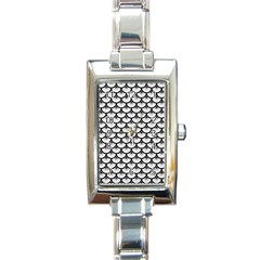 Scales3 Black Marble & White Linen Rectangle Italian Charm Watch by trendistuff