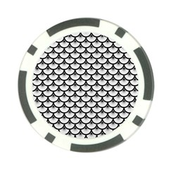 Scales3 Black Marble & White Linen Poker Chip Card Guard by trendistuff