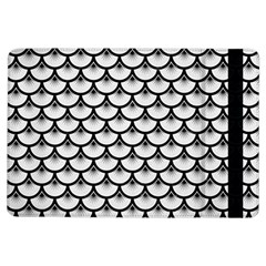 Scales3 Black Marble & White Linen Ipad Air Flip by trendistuff