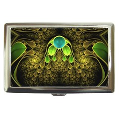 Beautiful Gold And Green Fractal Peacock Feathers Cigarette Money Cases by beautifulfractals