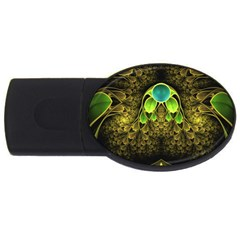 Beautiful Gold And Green Fractal Peacock Feathers Usb Flash Drive Oval (4 Gb) by beautifulfractals