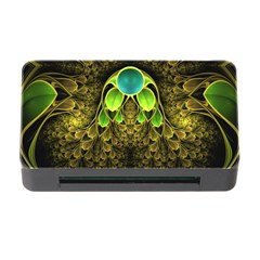 Beautiful Gold And Green Fractal Peacock Feathers Memory Card Reader With Cf by jayaprime