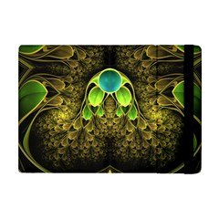 Beautiful Gold And Green Fractal Peacock Feathers Apple Ipad Mini Flip Case by beautifulfractals