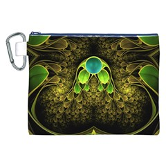 Beautiful Gold And Green Fractal Peacock Feathers Canvas Cosmetic Bag (xxl) by beautifulfractals