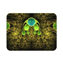 Beautiful Gold And Green Fractal Peacock Feathers Double Sided Flano Blanket (mini)  by beautifulfractals