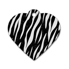 Skin3 Black Marble & White Linen (r) Dog Tag Heart (one Side) by trendistuff