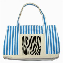 Skin4 Black Marble & White Linen (r) Striped Blue Tote Bag by trendistuff