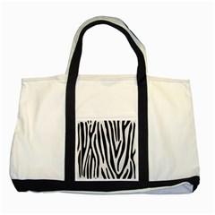 Skin4 Black Marble & White Linen (r) Two Tone Tote Bag by trendistuff
