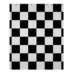 Square1 Black Marble & White Linen Shower Curtain 60  X 72  (medium)  by trendistuff