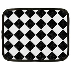 Square2 Black Marble & White Linen Netbook Case (xxl)  by trendistuff
