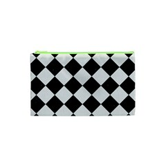 Square2 Black Marble & White Linen Cosmetic Bag (xs) by trendistuff
