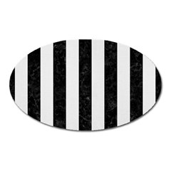 Stripes1 Black Marble & White Linen Oval Magnet by trendistuff