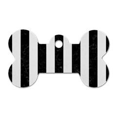Stripes1 Black Marble & White Linen Dog Tag Bone (one Side) by trendistuff