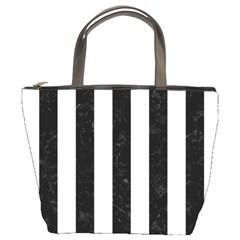 Stripes1 Black Marble & White Linen Bucket Bags by trendistuff