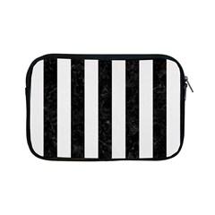 Stripes1 Black Marble & White Linen Apple Ipad Mini Zipper Cases by trendistuff