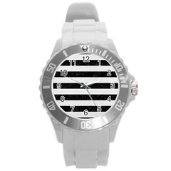 Stripes2 Black Marble & White Linen Round Plastic Sport Watch (l) by trendistuff