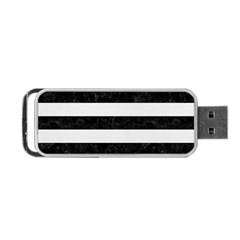 Stripes2 Black Marble & White Linen Portable Usb Flash (two Sides) by trendistuff