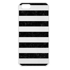 Stripes2 Black Marble & White Linen Apple Iphone 5 Seamless Case (white) by trendistuff