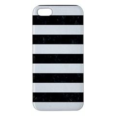 Stripes2 Black Marble & White Linen Apple Iphone 5 Premium Hardshell Case by trendistuff