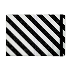 Stripes3 Black Marble & White Linen Apple Ipad Mini Flip Case by trendistuff