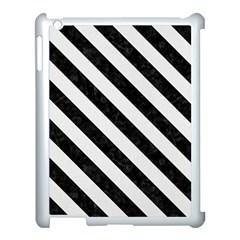 Stripes3 Black Marble & White Linen Apple Ipad 3/4 Case (white) by trendistuff