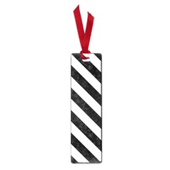 Stripes3 Black Marble & White Linen Small Book Marks by trendistuff